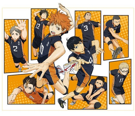 Hinata, and his old rival Kageyama, featured in the front, along with the other starters of Kurasuno high.