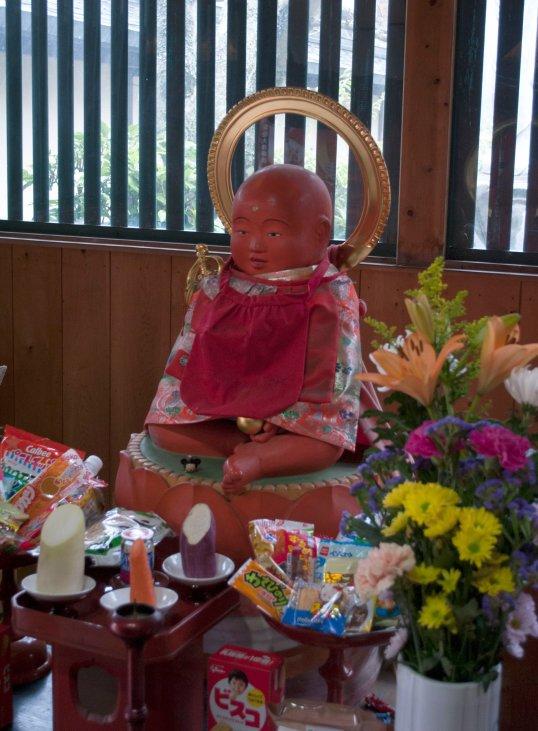 Aka Jizo statue at Koya-San