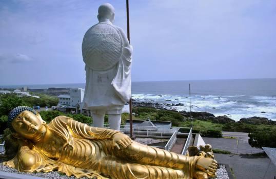Large Kobo Daishi and resting Buddha statues near Cape Muroto
