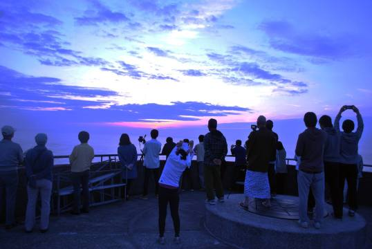 One of the popular things to do at the cape is watch the sunrise, which is said to be one of the best spots to view it in Japan. While it was a little cloudy the morning I watched it, that did not stop a group of people waking up very early to watch the daily event.